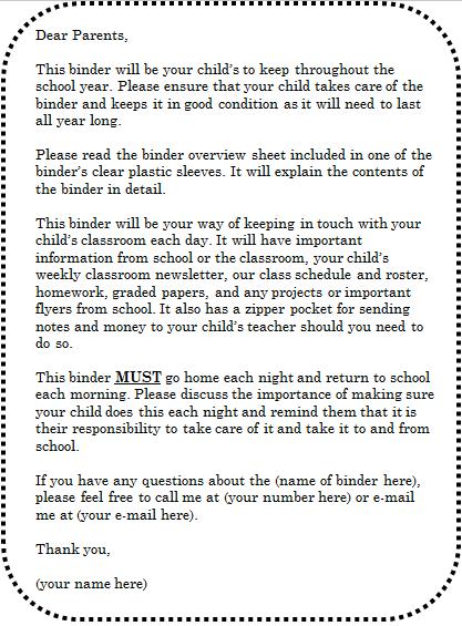 classroom binder parent letter