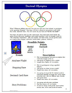 Let the Games Begin! FREE Decimal Olympics Activity!