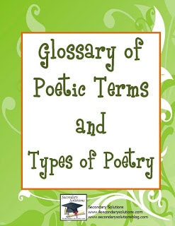 Glossary of Terms and 8 Types of Poems! - Classroom Freebies