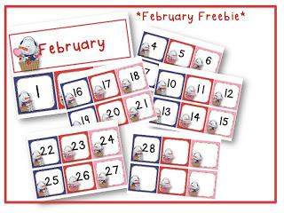 Free Calendar Number Set (February)