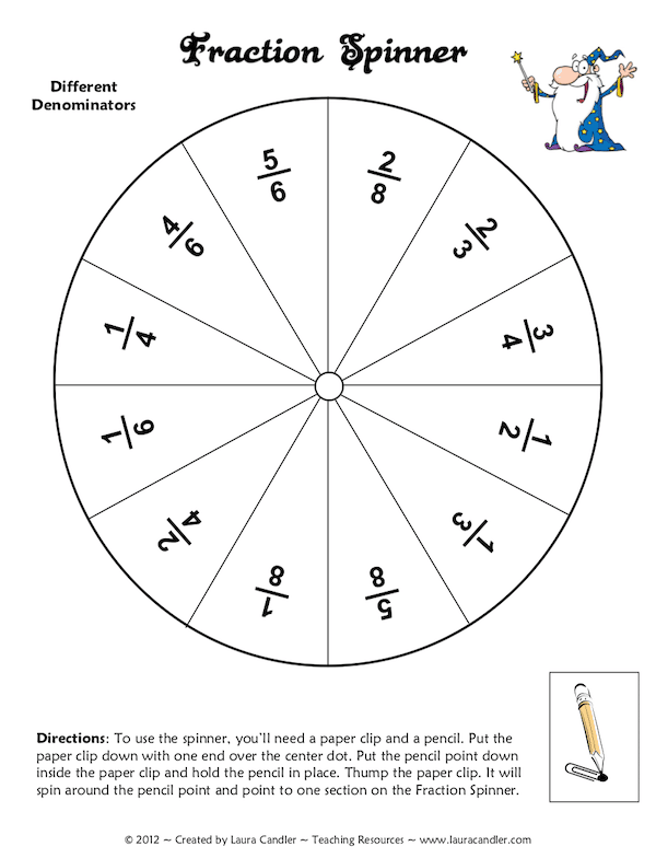 Fraction Spinner Freebie
