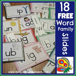 18 Free Word Family Sliders
