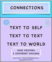 photo of connections, text to self, text to text, text to world, free, pdf, Ruth S. teacherspayteachers.com