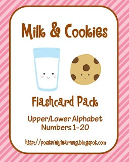 Milk and Cookies Numbers and Letter Cards