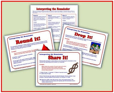 Interpreting Remainders Posters and Handout