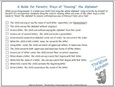 Alphabet Checklist for Parents