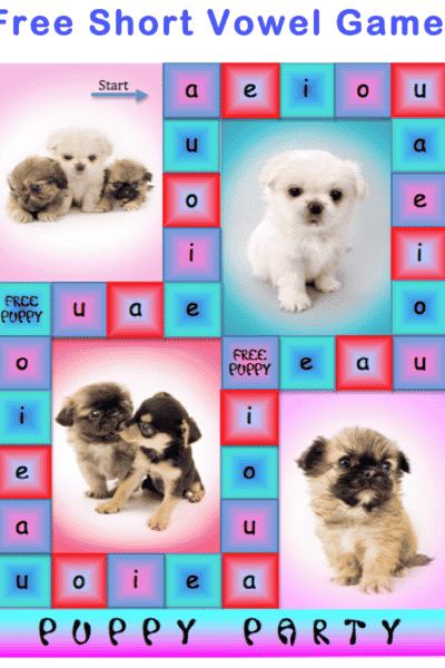 Free Short Vowel Board Game: Puppy Party