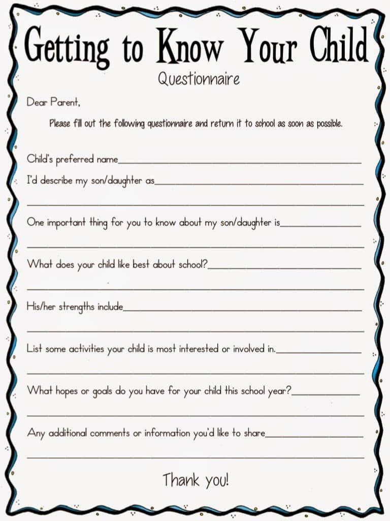 A Getting To Know Your Child Questionnaire Classroom