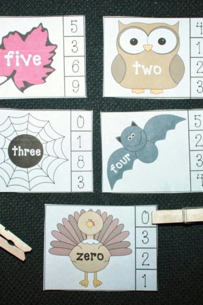 Fall-Themed Number Word Games