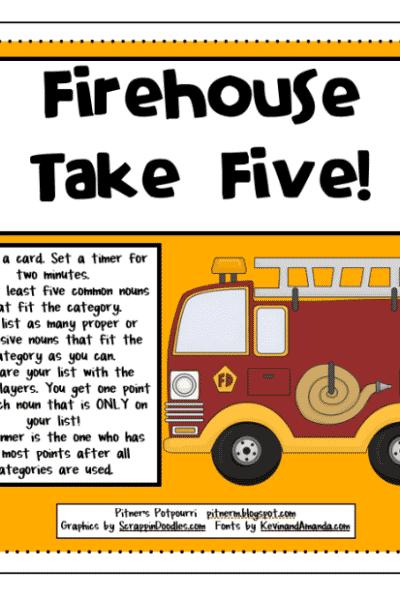 Freebie for Nouns Take Five Game!