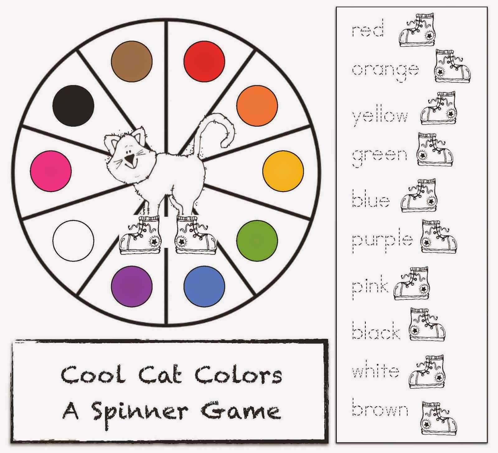 Pete the Cat Spinner Game For I Love My White Shoes ...