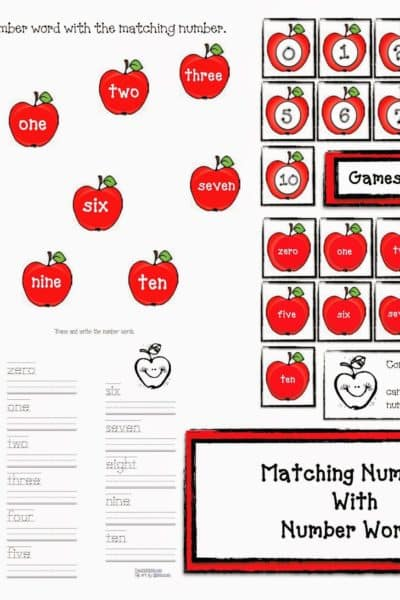 Apple Games: Matching Numbers With Number Words