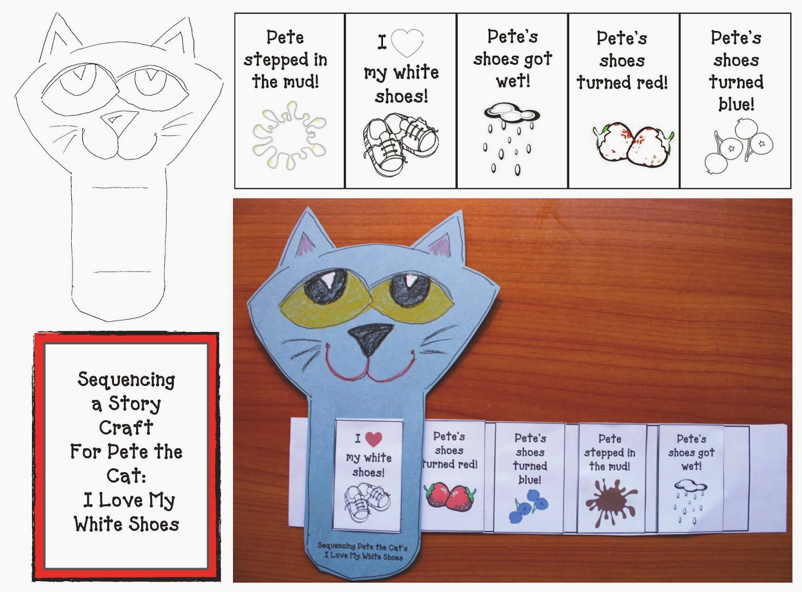 Pete The Cat I Love My White Shoes Sequencing Cards