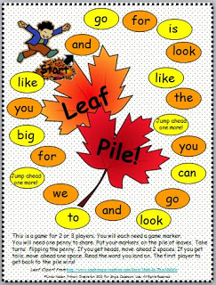 leaf pile sight word game classroom freebies