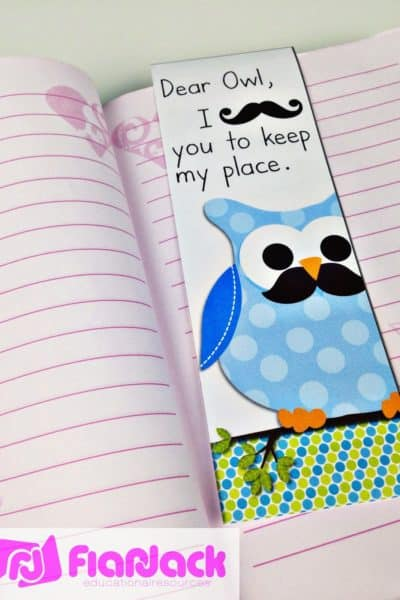 Mustache and Owl Bookmark Freebie