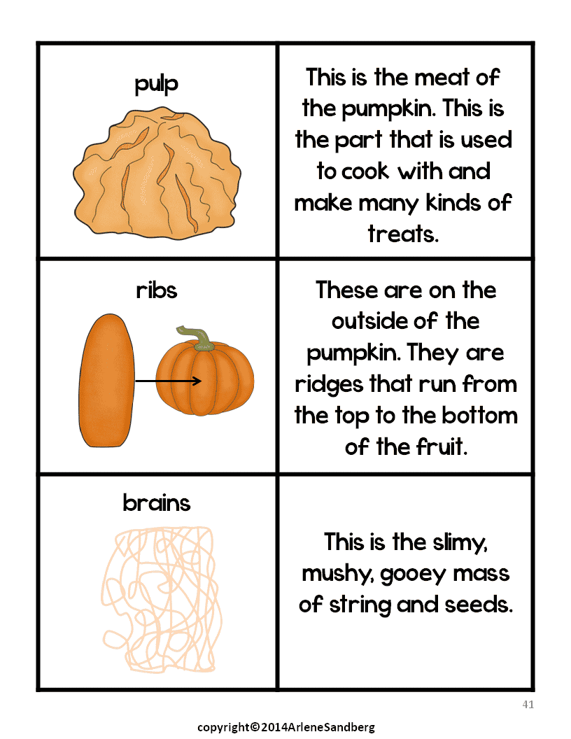 pumpkin parts picture fact cards and labeling activity. Black Bedroom Furniture Sets. Home Design Ideas
