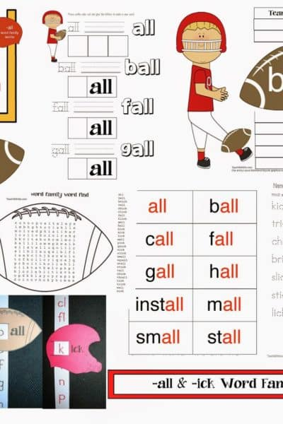 -all and -ick Word Families Football-Themed Packet
