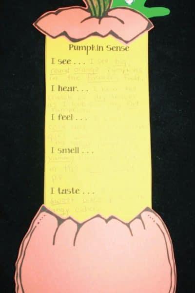 Pumpkin Guts 5 Senses Writing Promp