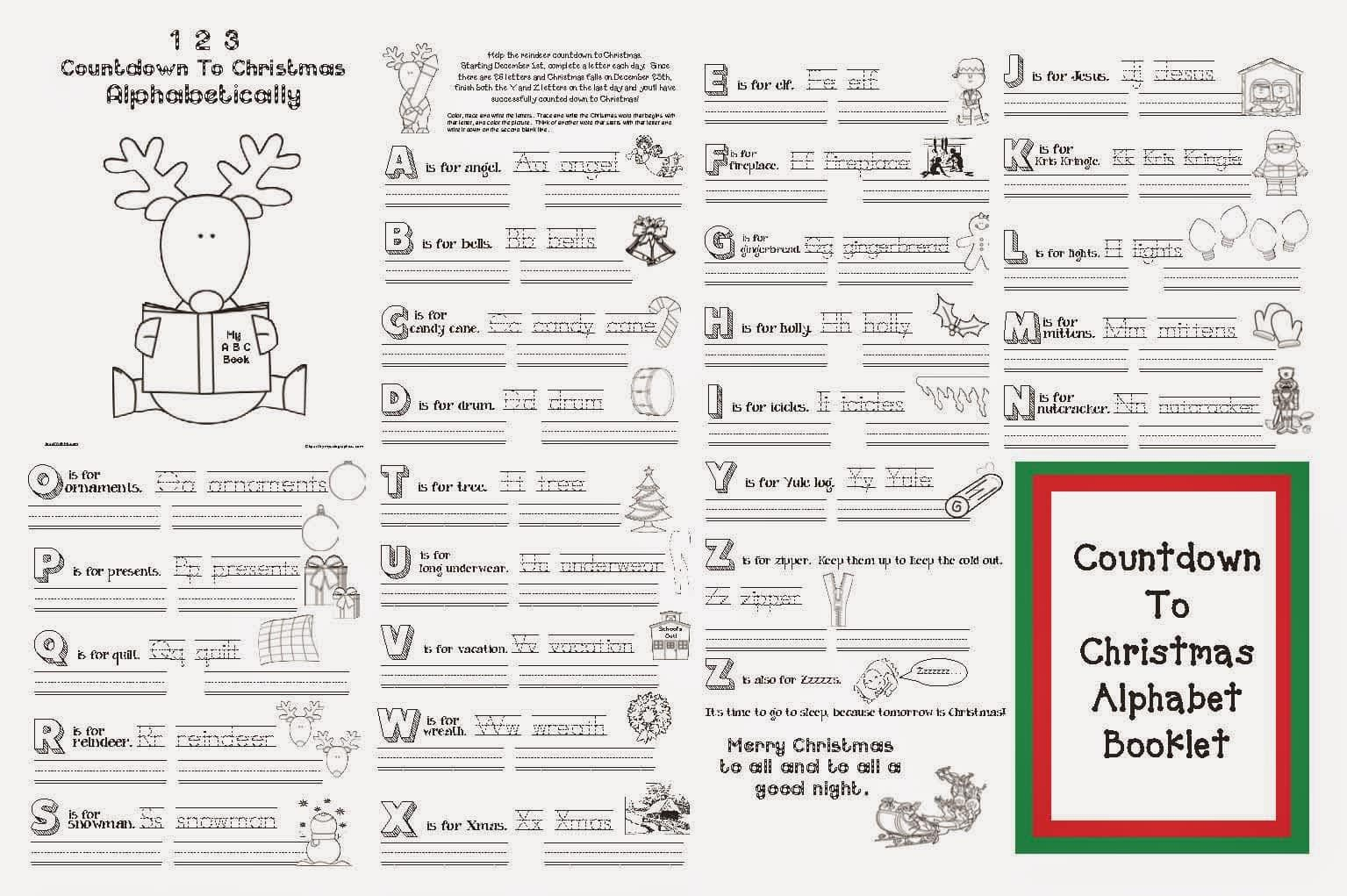 1 2 3 countdown to christmas alphabetically classroom freebies
