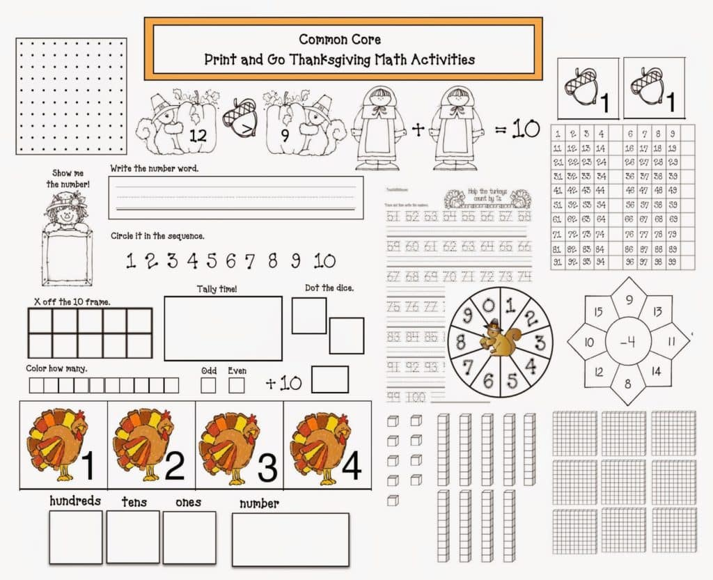 common core thanksgiving math packet classroom freebies. Black Bedroom Furniture Sets. Home Design Ideas