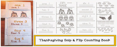 Thanksgiving Emergent Reader Snip and Flip Counting Booklet