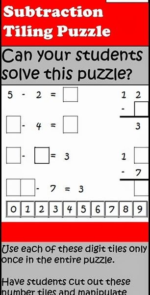 Free Subtraction Tiling Puzzle from Raki's Rad Resources
