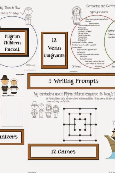 Pilgrim Children Thanksgiving Packet
