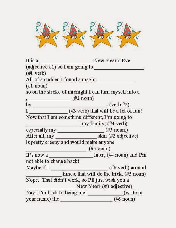 Happy New Year Fractured Tale Parts of Speech Writing Prompt Game ...