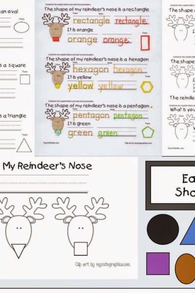 The Shape Of My Reindeer's Nose Emergent Reader Booklet