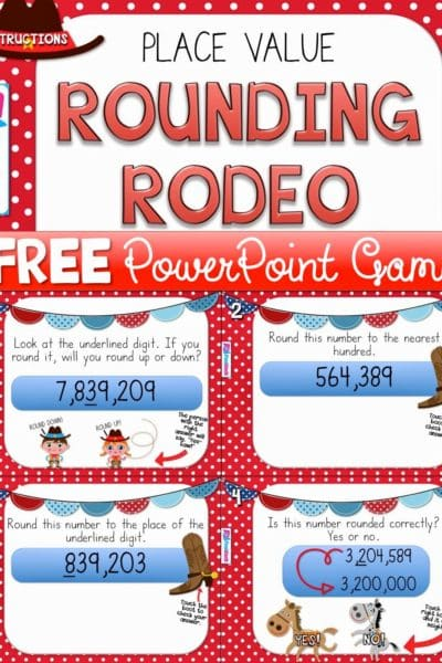 Rounding Rodeo PowerPoint Game FREEBIE