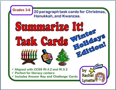 Christmas Hanukkah Kwanzaa And Other Holidays.Summarizing Task Cards For Christmas Hanukkah And Kwanzaa