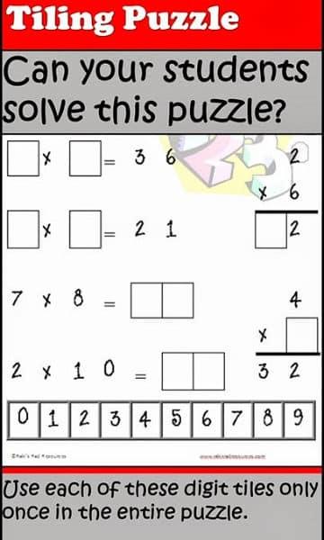 Multiplication Tiling Puzzle from Raki's Rad Resources