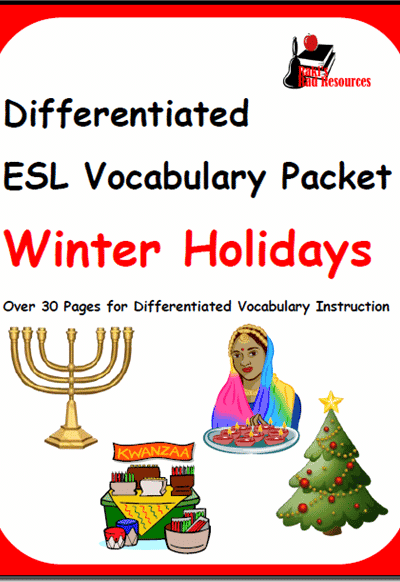Winter Holidays Vocabulary Packet for ESL Students from Raki's Rad Resources