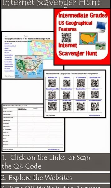 Geographical Features of the USA Internet Scavenger Hunt from Raki's Rad Resources