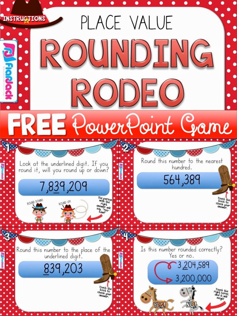 Place Value Rounding Rodeo PowerPoint Game Freebie