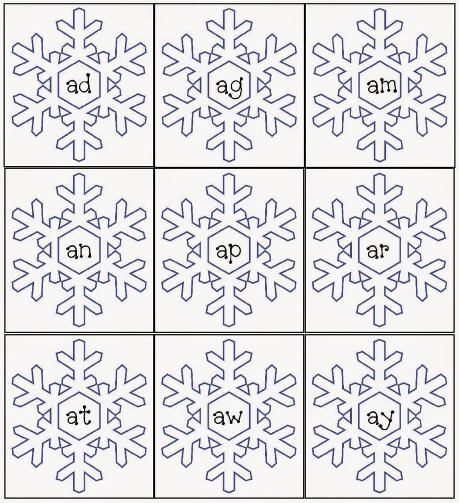Snowflake Word Famiies Packet - Classroom Freebies