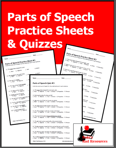 image about Parts of Speech Quiz Printable titled Areas of Speech Educate Sheets Quizzes versus Rakis Rad