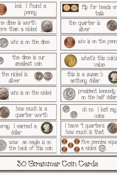 30 Coin-Themed Grammar Cards