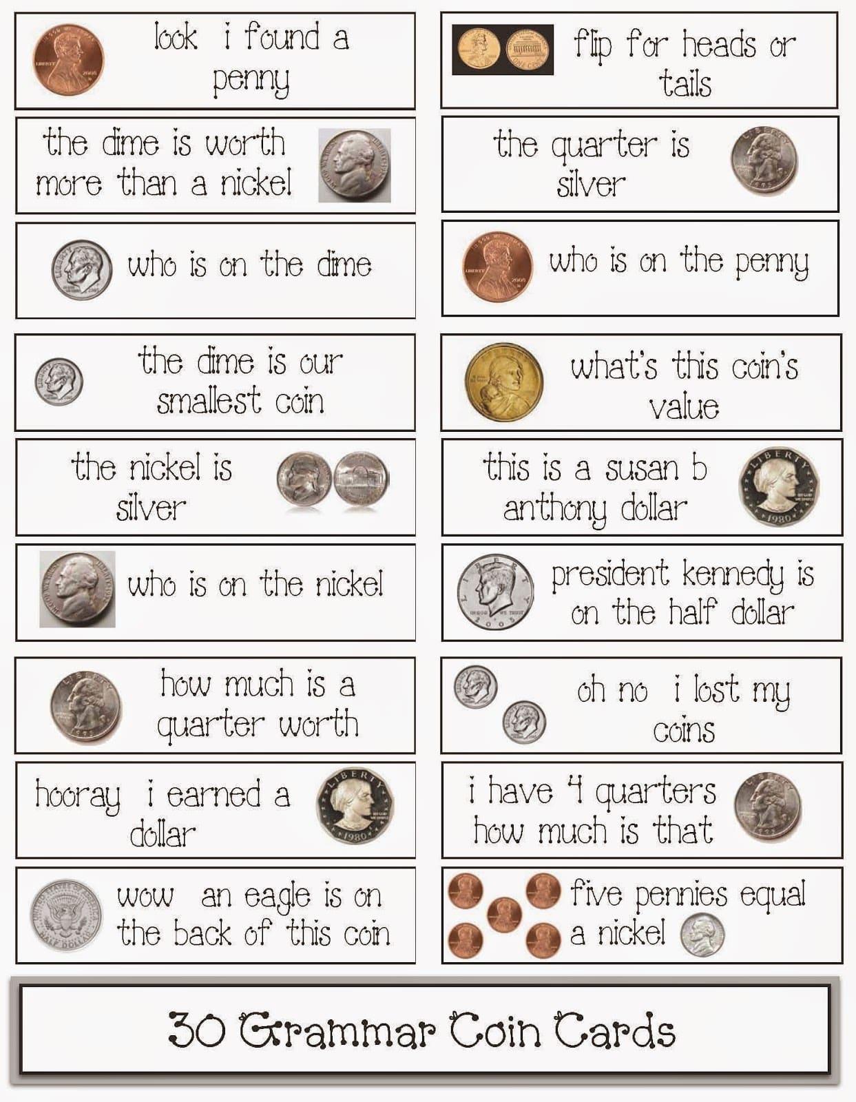 30 Coin Themed Grammar Cards Classroom Freebies