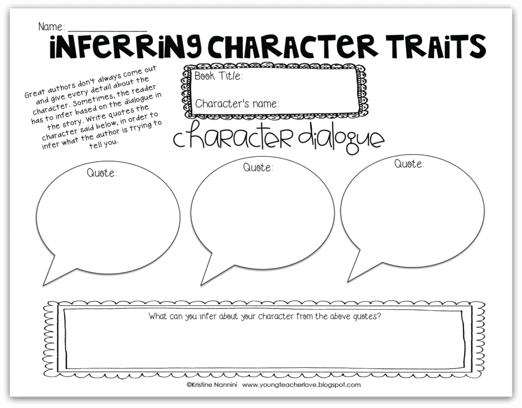inferring character traits freebie - classroom freebies
