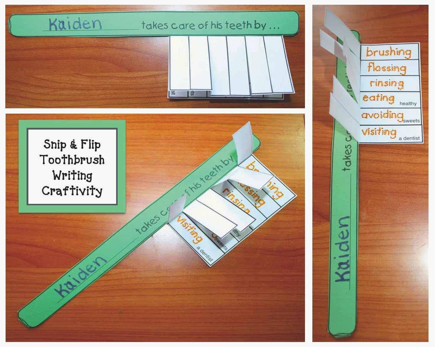 Toothbrush Dental Hygiene Writing Prompt Craft Classroom