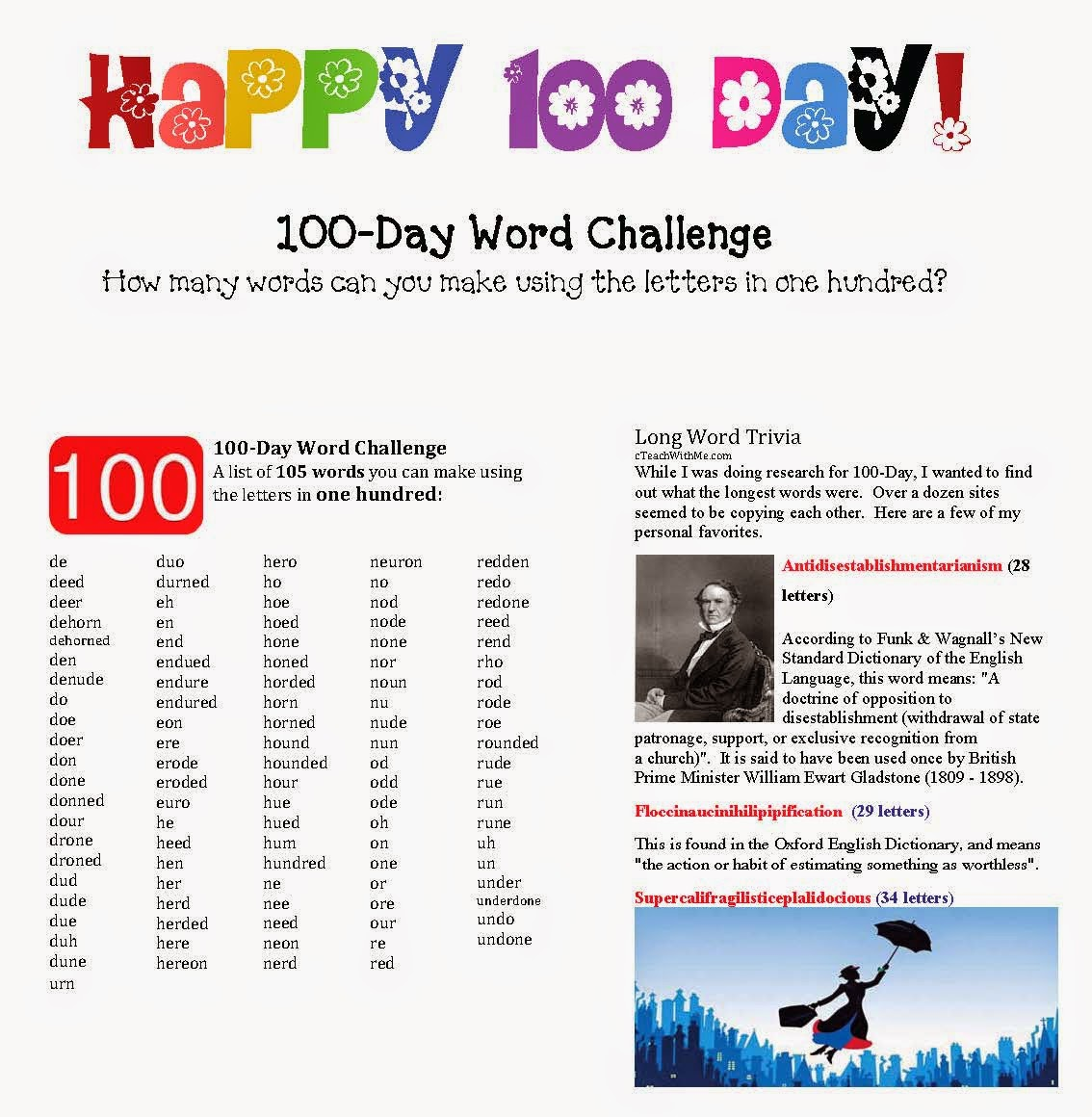 100 day word challenge game classroom freebies