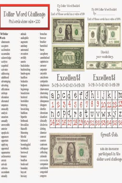 Dollar Words Packet