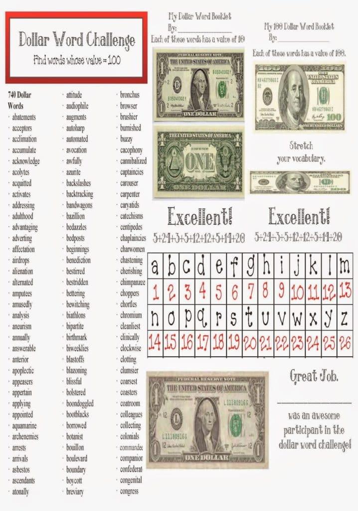 Dollar Words Packet - Classroom Freebies
