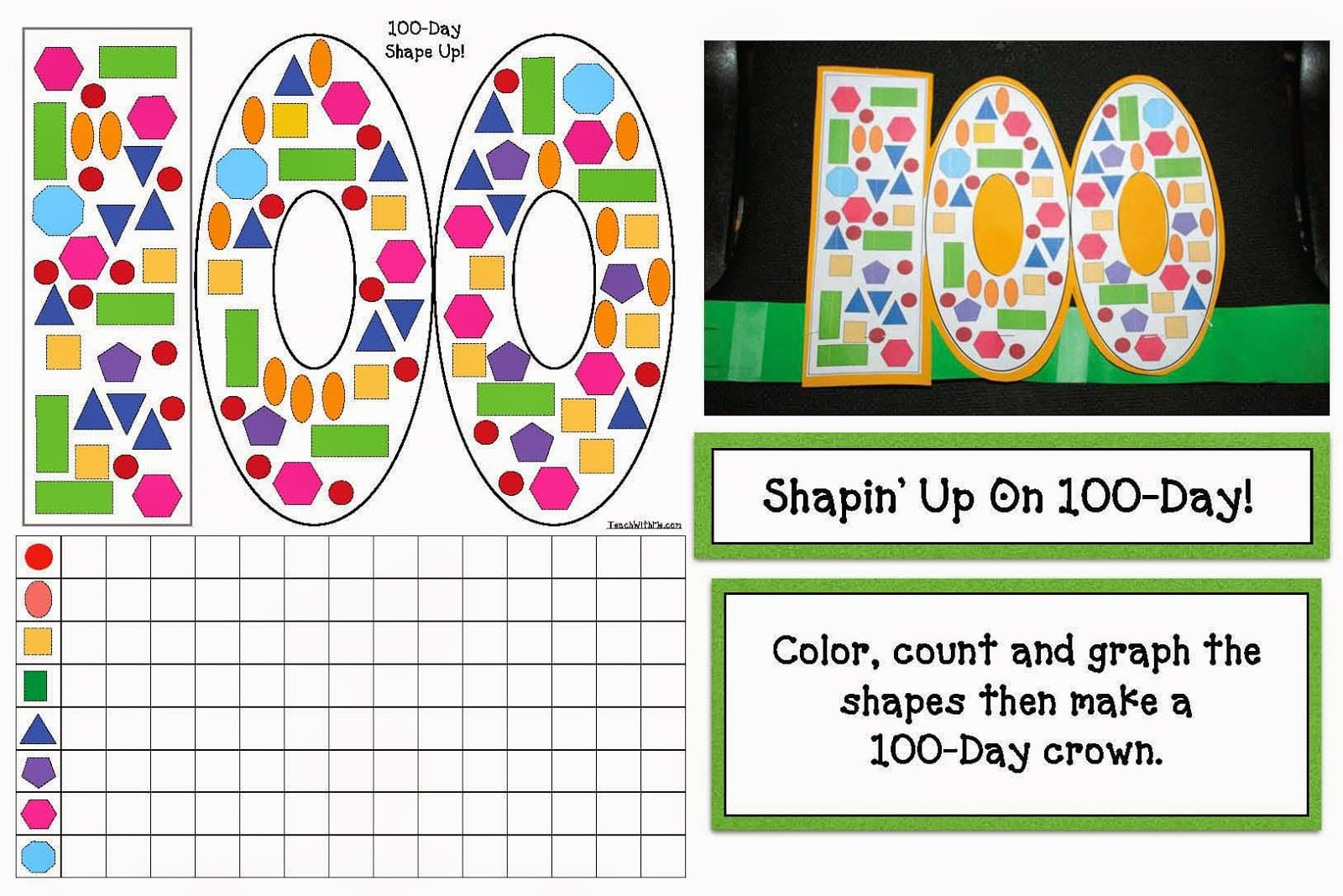 100 day shape graphing review crowns classroom freebies maxwellsz