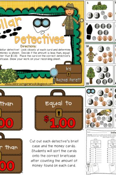 Dollar Detectives {Math Center Game}