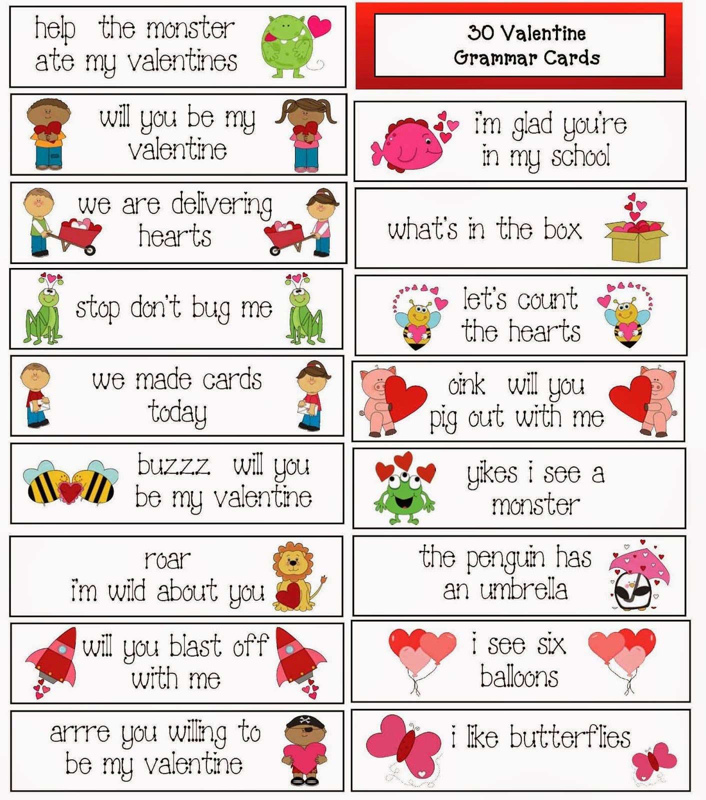 30 valentine themed grammar cards classroom freebies. Black Bedroom Furniture Sets. Home Design Ideas