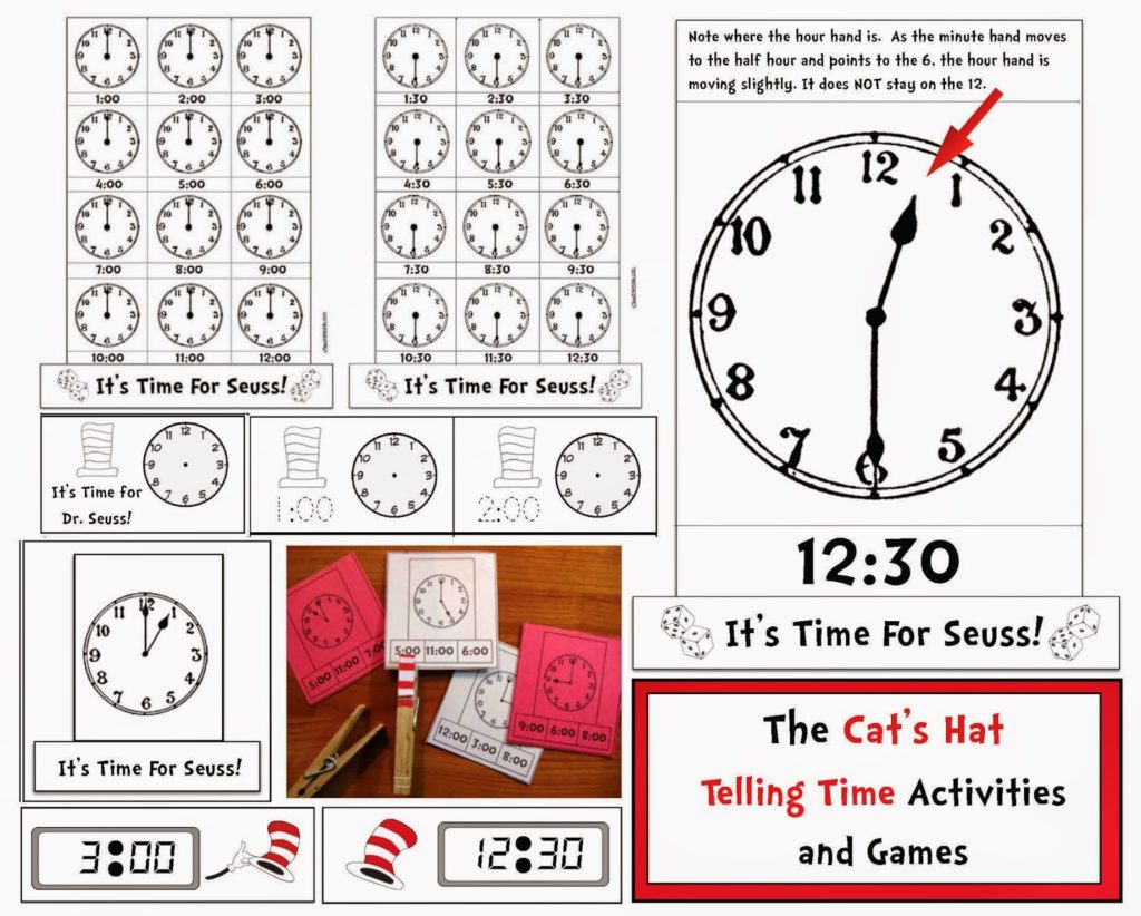Seuss Themed Telling Time To The Hour Half Hour Digital