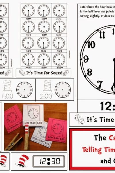 Seuss-Themed Telling Time to the Hour & Half Hour Digital & Analog Time packet