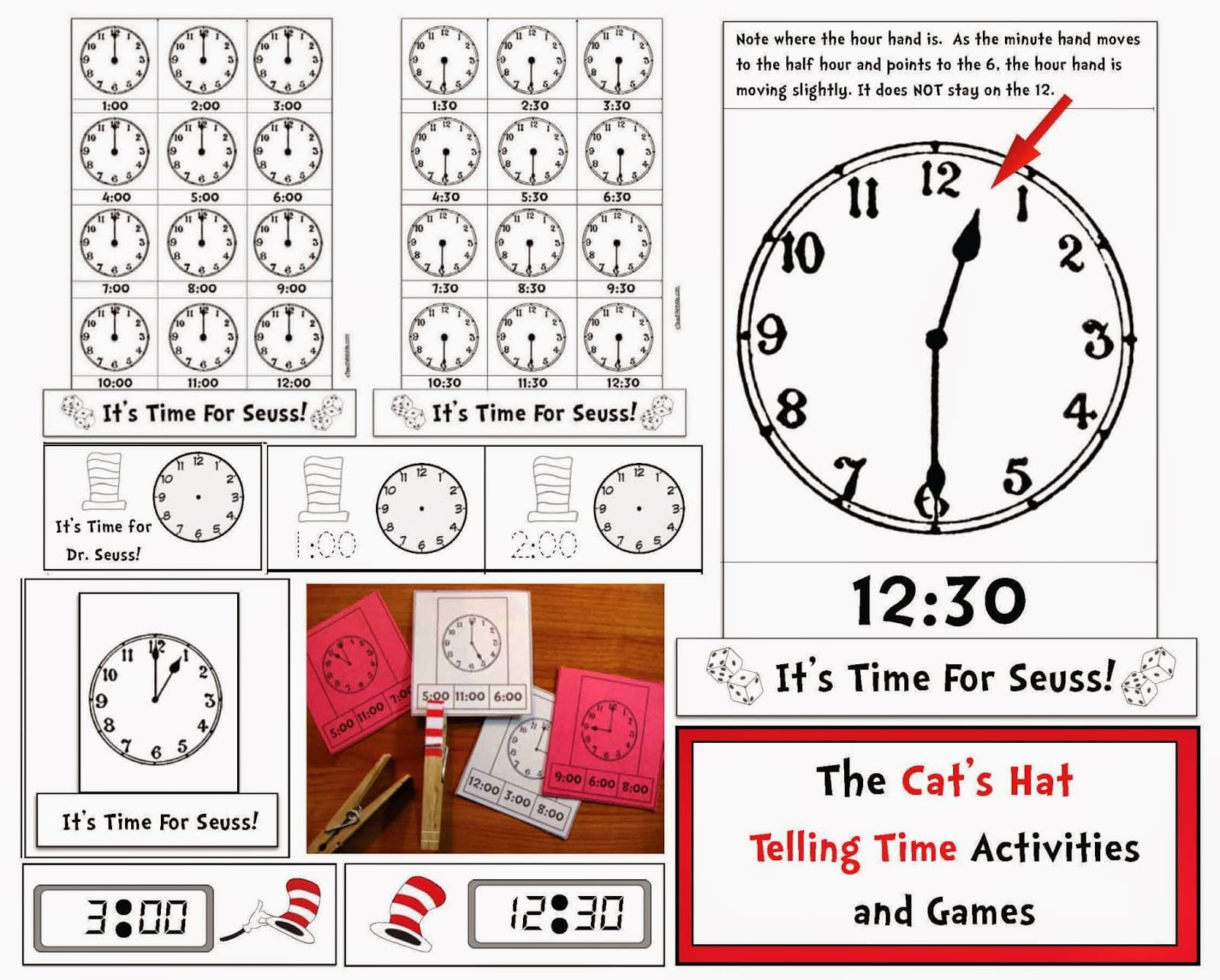 seuss themed telling time to the hour half hour digital analog time packet classroom freebies. Black Bedroom Furniture Sets. Home Design Ideas